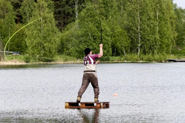 Flugfisketävling Långnäs fiske spöm  Svensbyfjärden Lillpiteälven